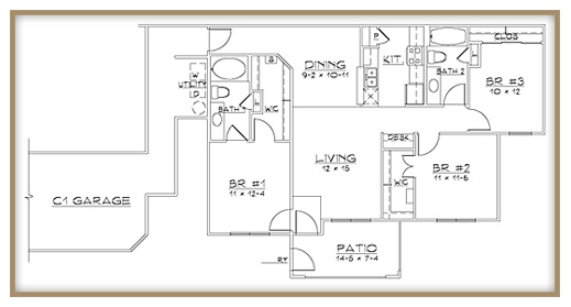 Aventine Apartments - Floorplan - Plan C1