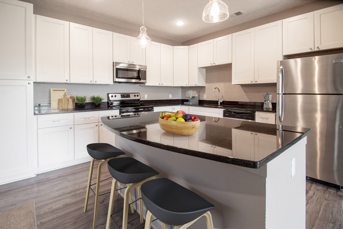 Kitchens with Stainless Steel Appliances at Avenue 204 Apartments in Gretna, Nebraska