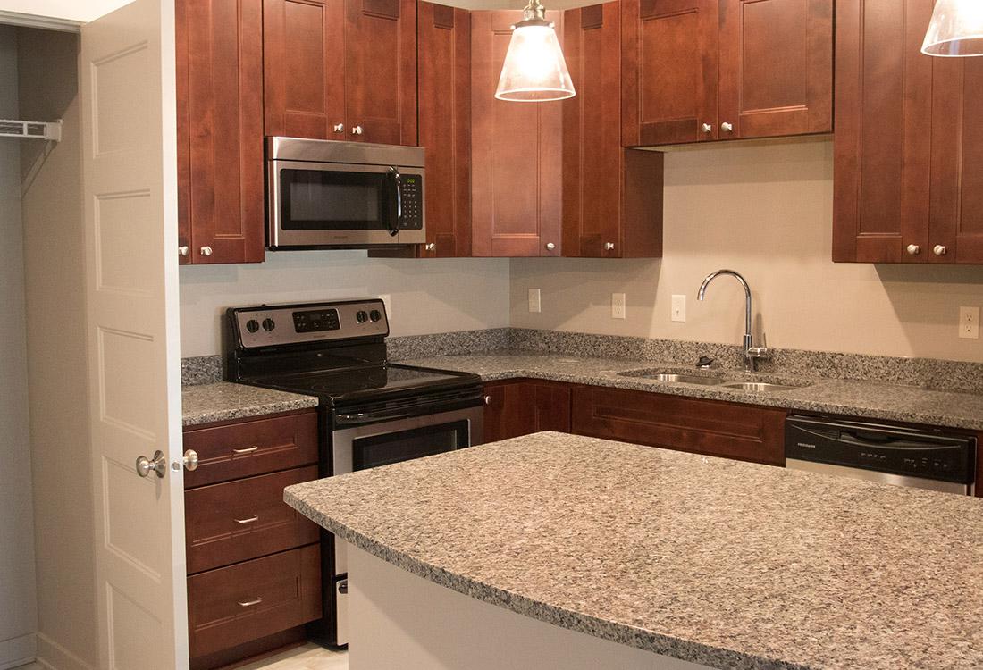 Kitchen Island at Avenue 204 at Royal View Apartments in Gretna, Nebraska