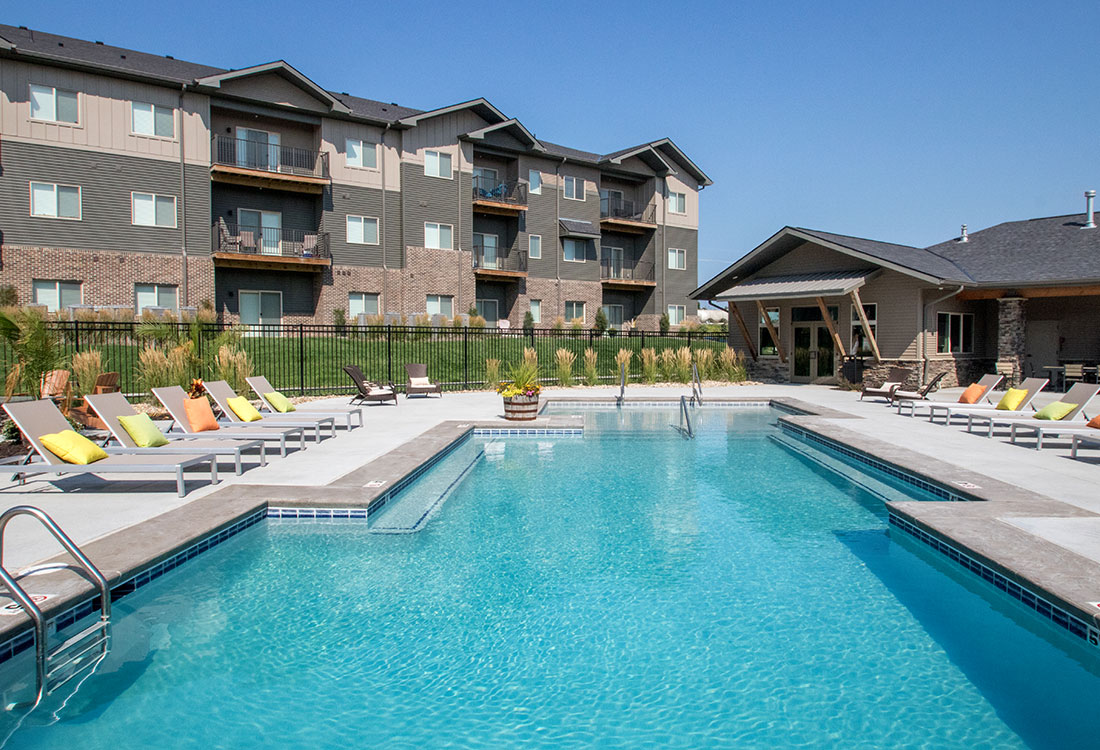 Resort-Style Swimming Pool at Avenue 204 at Royal View Apartments in Gretna, Nebraska