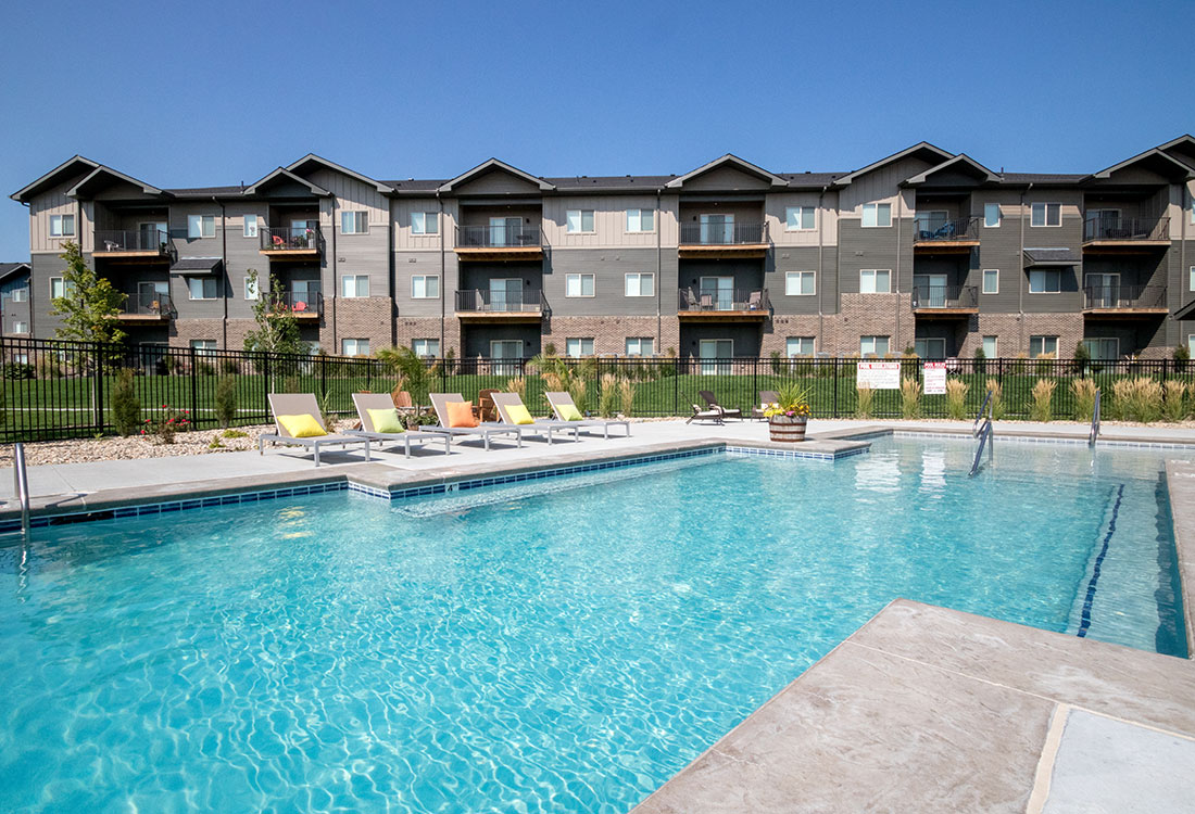 Sparkling Swimming Pool at Avenue 204 at Royal View Apartments in Gretna, Nebraska