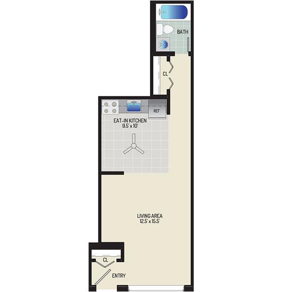 Barcroft Plaza Apartments - Floorplan - Studio