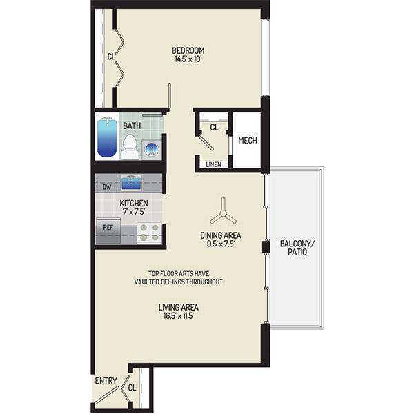 Barcroft Plaza Apartments - Floorplan - 1 Bedroom + 1 Bath