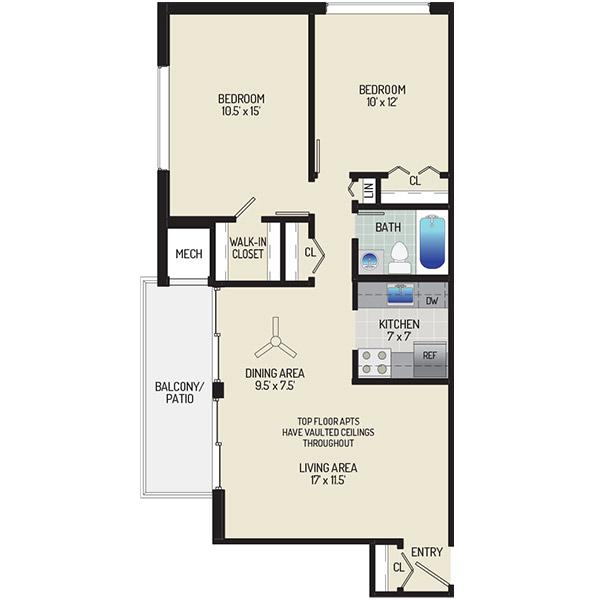 Barcroft Plaza Apartments - Floorplan - 2 Bedrooms + 1 Bath