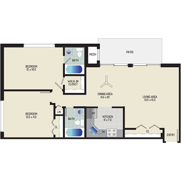 Informative Picture of 2 Bedrooms + 2 Baths