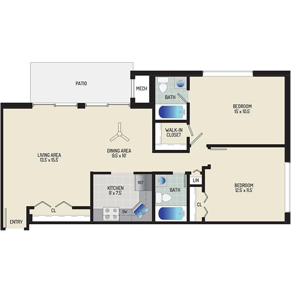 Barcroft Plaza Apartments - Floorplan - 2 Bedrooms + 2 Baths