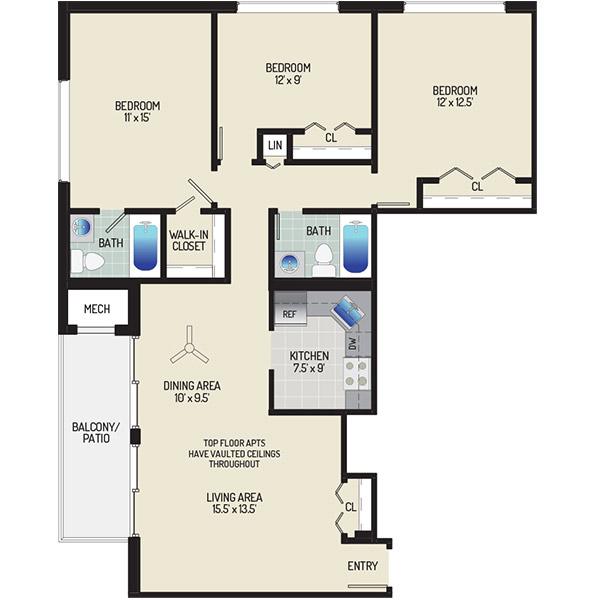 Barcroft Plaza Apartments - Floorplan - 3 Bedrooms + 2 Baths
