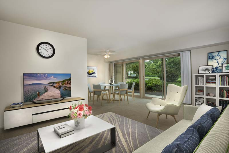 Spacious living and dining area at Barcroft Plaza Apartments in Falls Church, VA