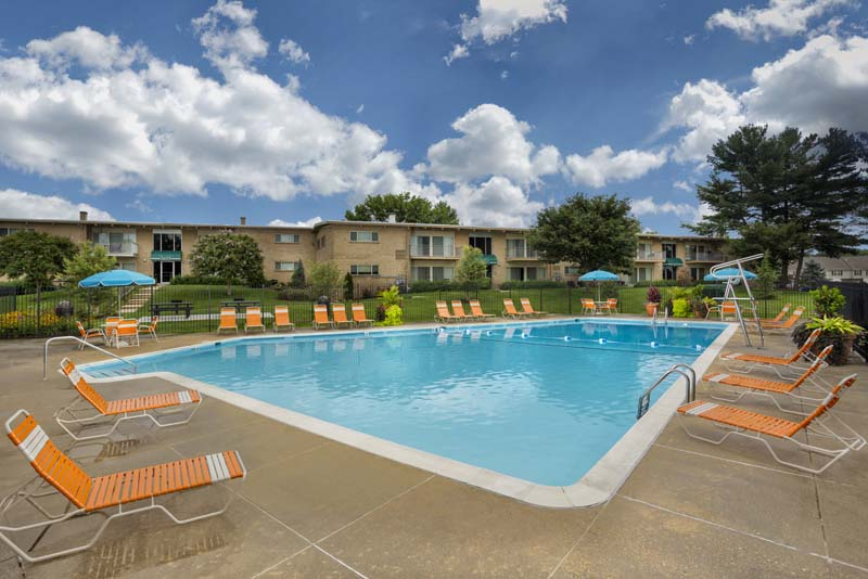 Relaxing swimming pool at Barcroft Plaza Apartments in Falls Church, VA