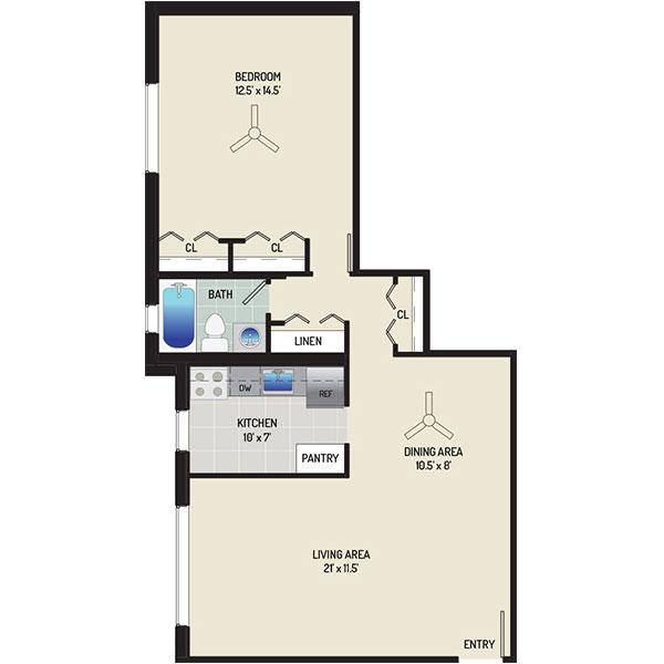 Barcroft View Apartments - Floorplan - 1 Bedroom + 1 Bath