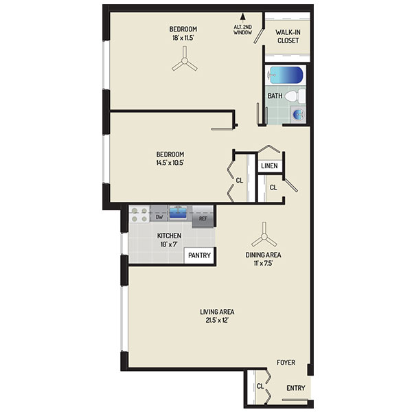 Barcroft View Apartments - Floorplan - 2 Bedrooms + 1 Bath