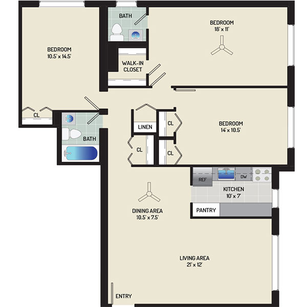 Barcroft View Apartments - Floorplan - 3 Bedrooms + 1.5 Baths