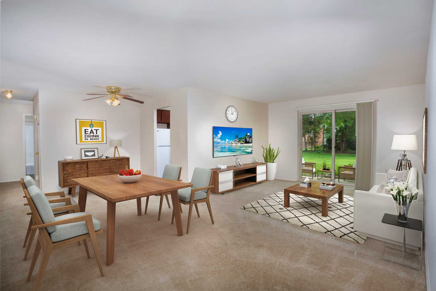 Spacious dining and living area at Barcroft View Apartments in Falls Church, VA