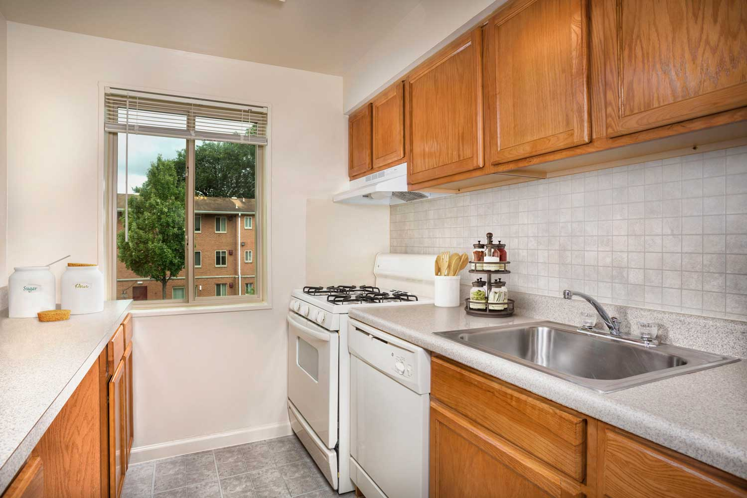 Kitchen with pantry at Barcroft View Apartments in Falls Church, VA