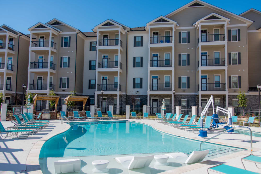 Sparkling Pool at The Reserve on Bayou DeSiard Apartments in Monroe, LA