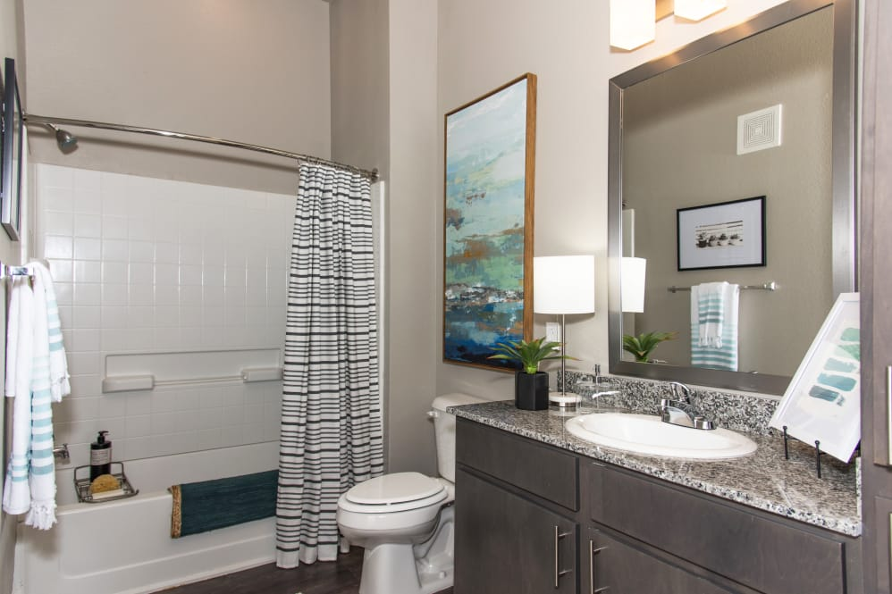 Single Vanity Bathroom at The Reserve on Bayou DeSiard Apartments in Monroe, LA