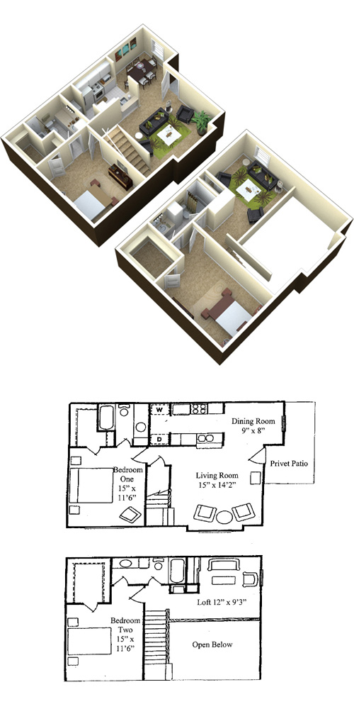 Baywater Apartments - Floorplan - Atlantic - 2x2 with Loft