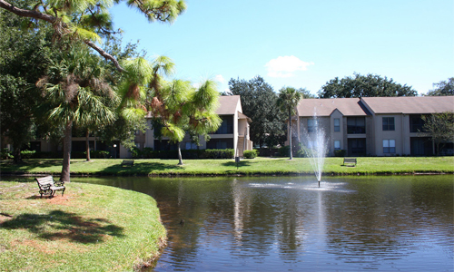 Lake with Fountain at the Baywater Apartments in Tampa, FL