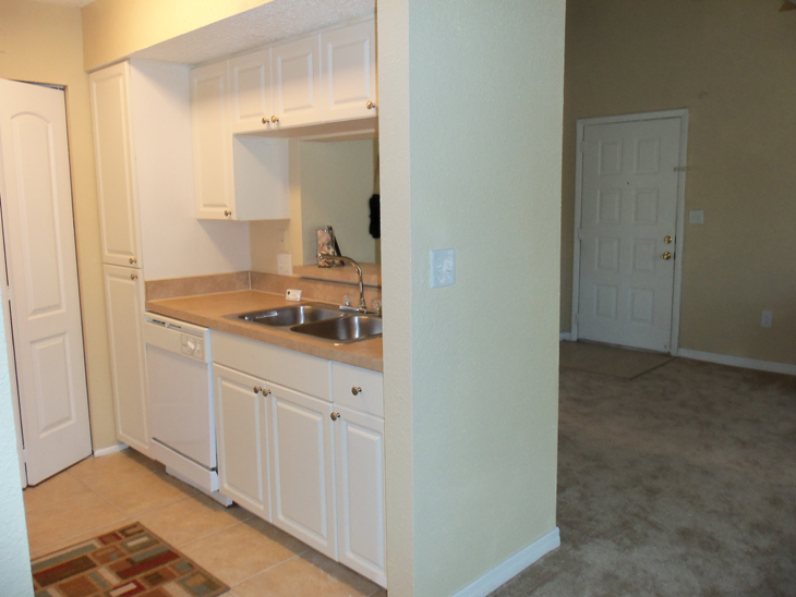 View of Front Entrance and Kitchen Area at the Baywater Apartments in Tampa, FL