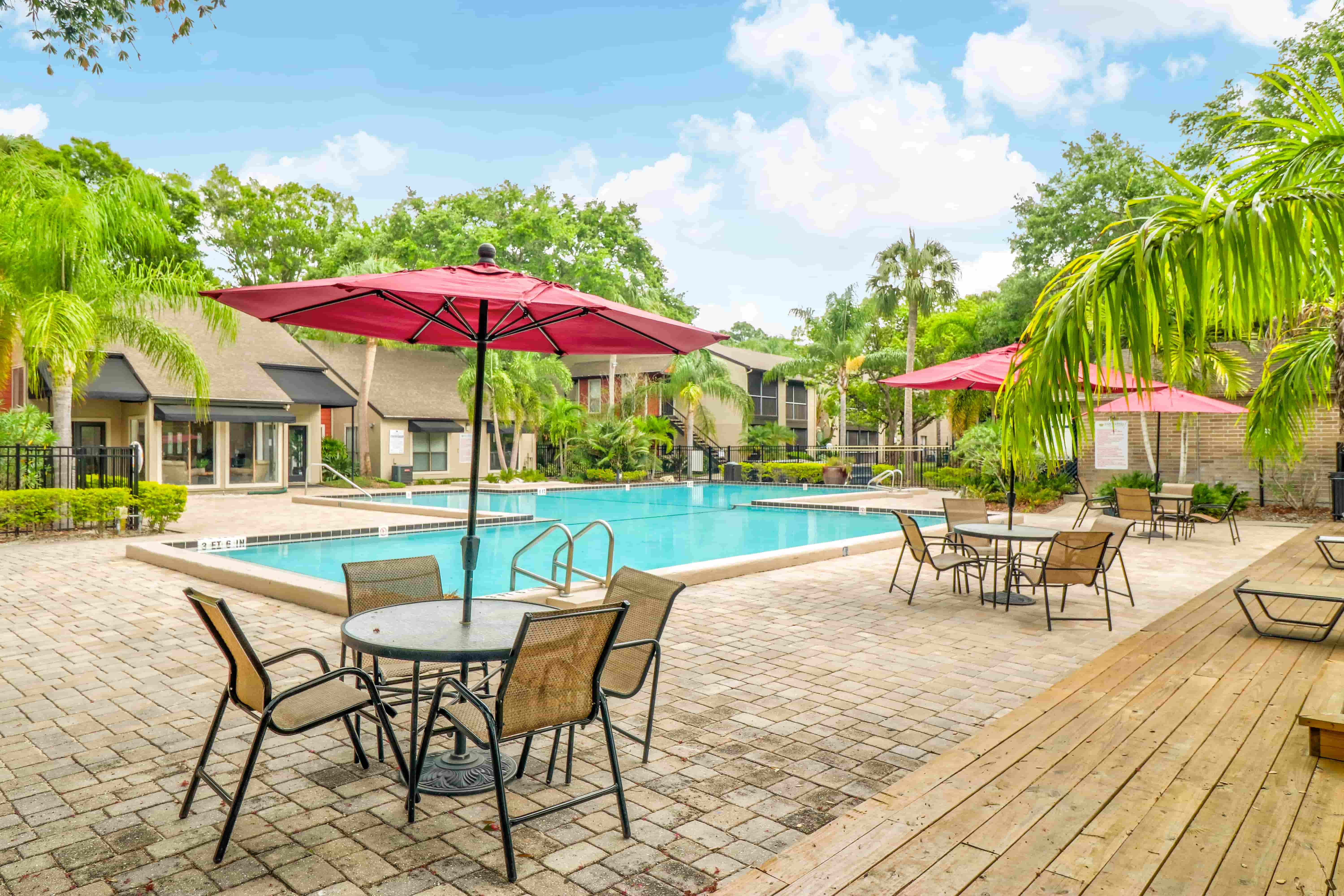 Pool Area at the Baywater Apartments in Tamps, FL