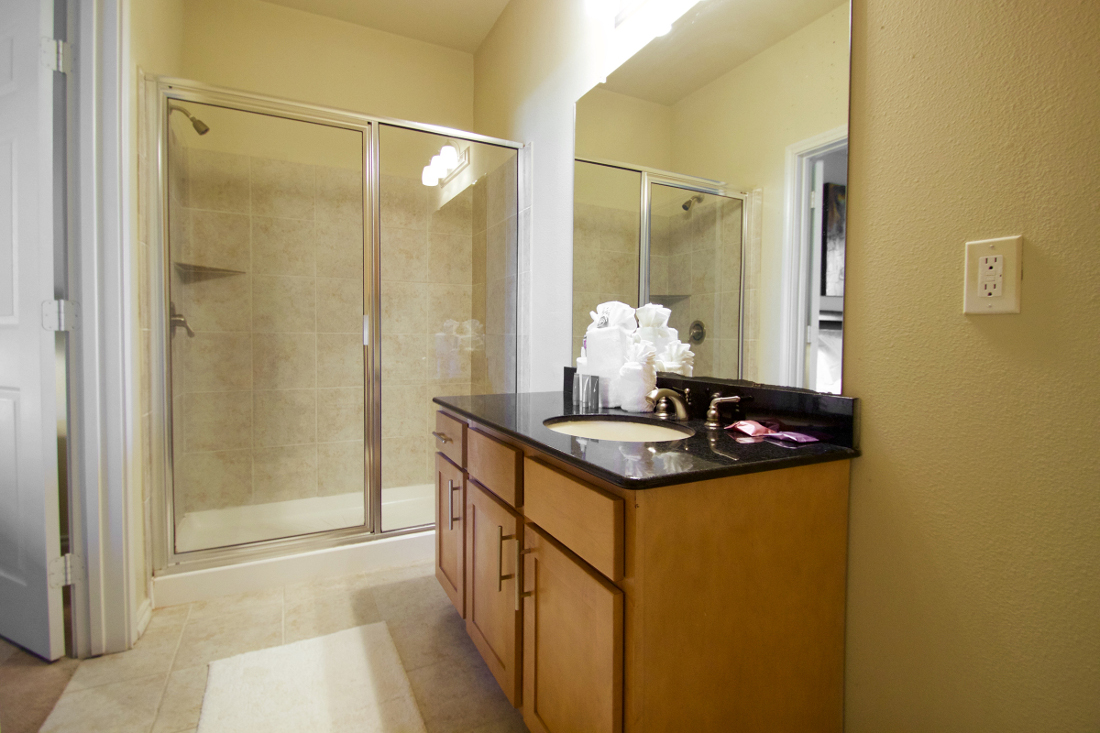 Walk-In Shower at Beaumont Trace Apartments in Beaumont, TX