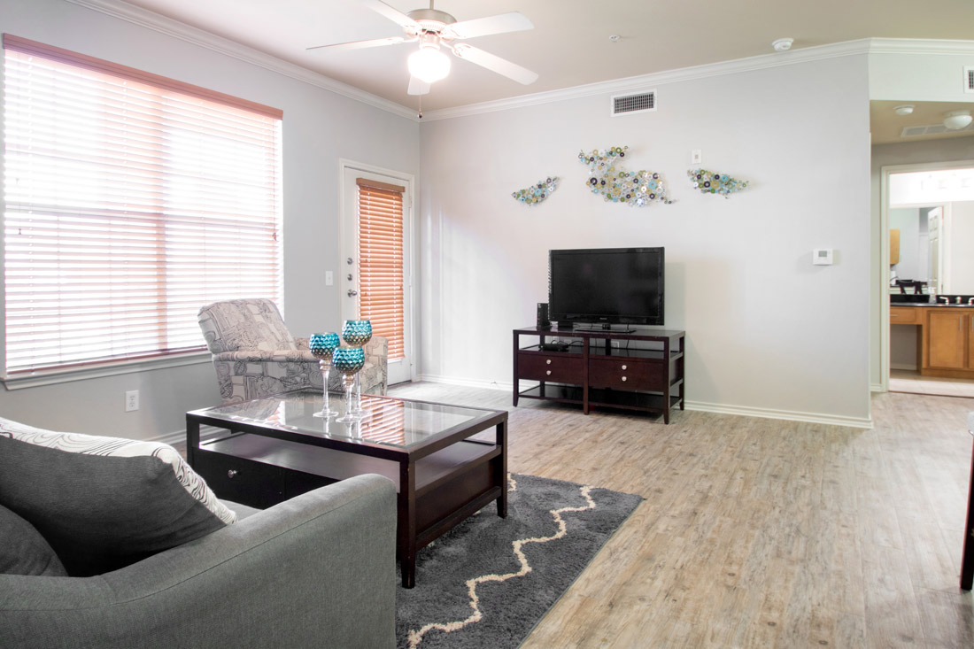 Living Room Windows With Natural Light at Beaumont Trace Apartments in Beaumont, TX
