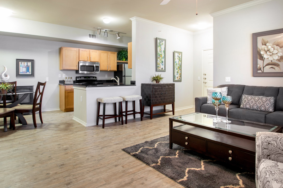 Spacious Living Rooms at Beaumont Trace Apartments in Beaumont, TX