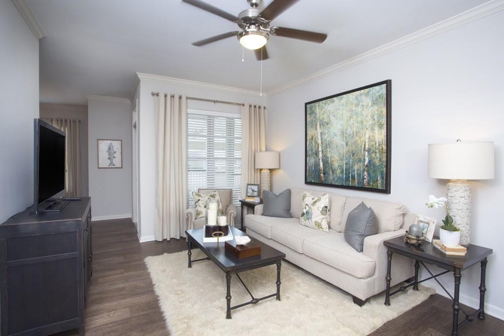 Ceiling Fan in the Living Room at Belle Savanne Luxury Apartment Homes in Sulphur, LA