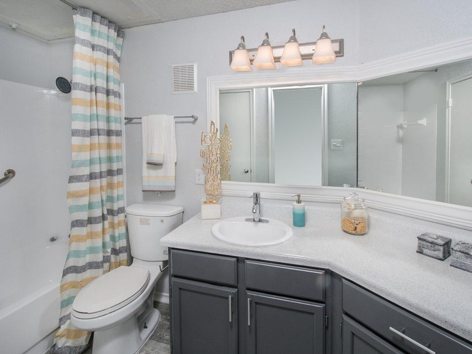 Bathroom with Spacious Vanity at Blair at Bitters Apartments in San Antonio, TX