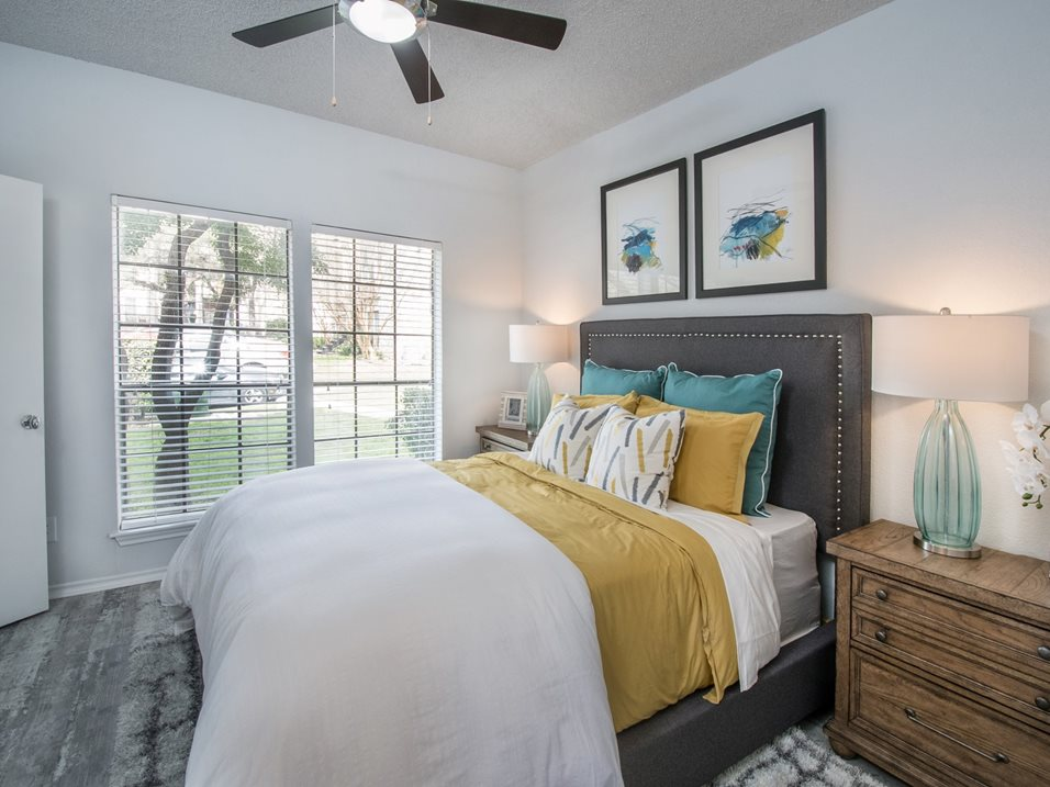Large Bedroom with Ceiling Fan at Blair at Bitters Apartments in San Antonio, TX