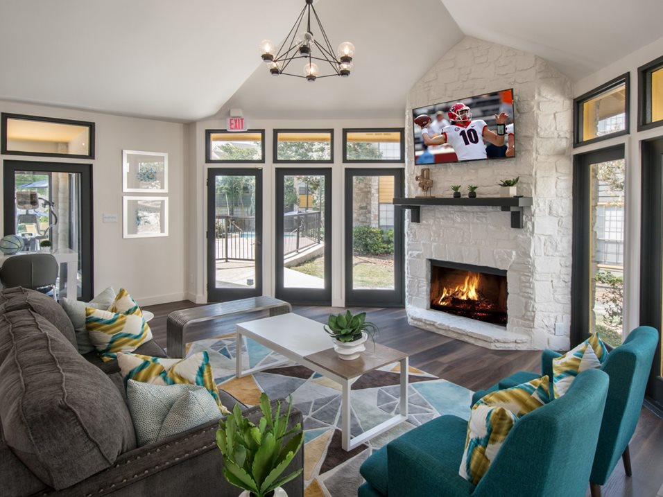 Community Clubhouse with Fireplace at Blair at Bitters Apartments in San Antonio, TX