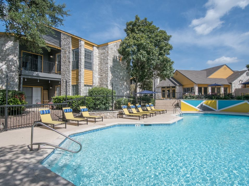 Sparkling Swimming Pool at Blair at Bitters Apartments in San Antonio, TX