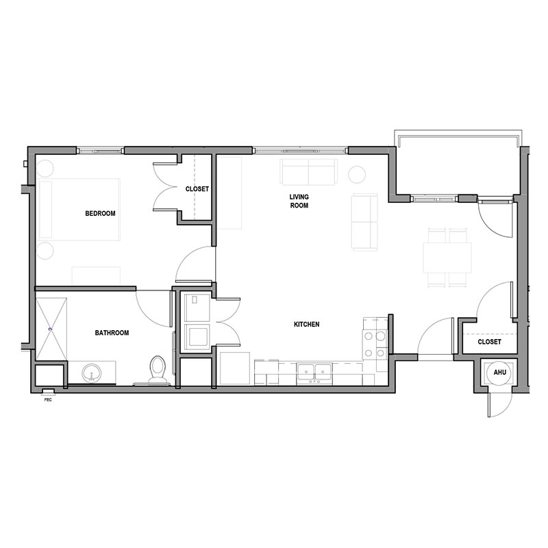 Floorplan - 1Bed 1Bath - ADA image