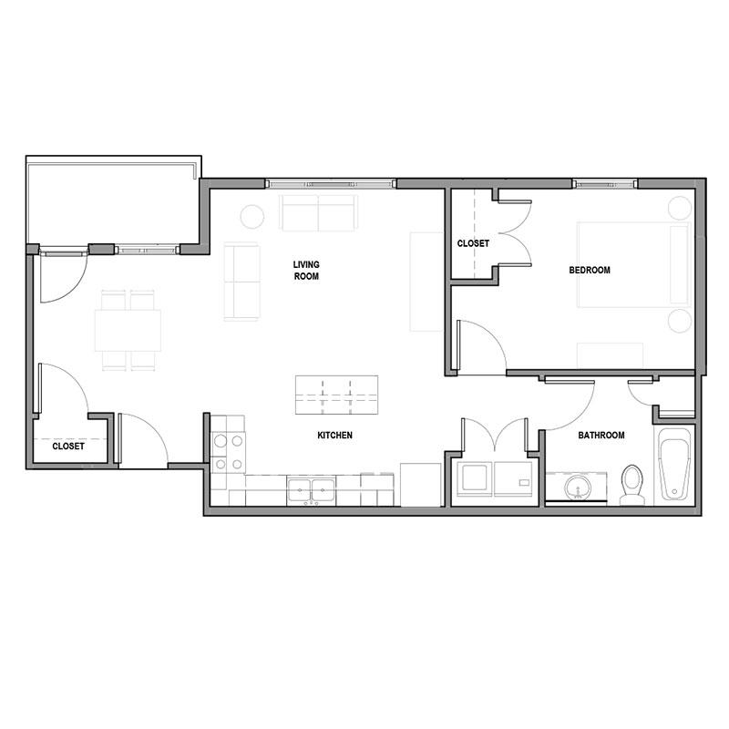 Floorplan - 1Bed 1Bath - MKT image