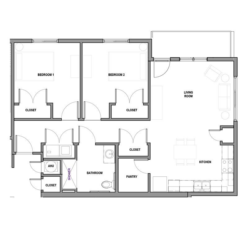 Floorplan - 2Bed 1Bath - ADA image