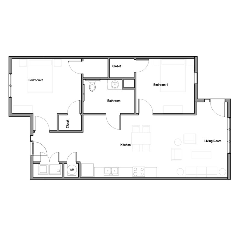 Floorplan - 2Bed 1Bath image