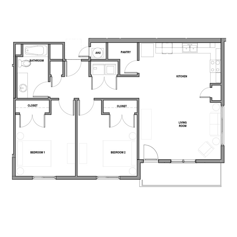 Boulevard Lofts - Floorplan - 2Bed 1Bath
