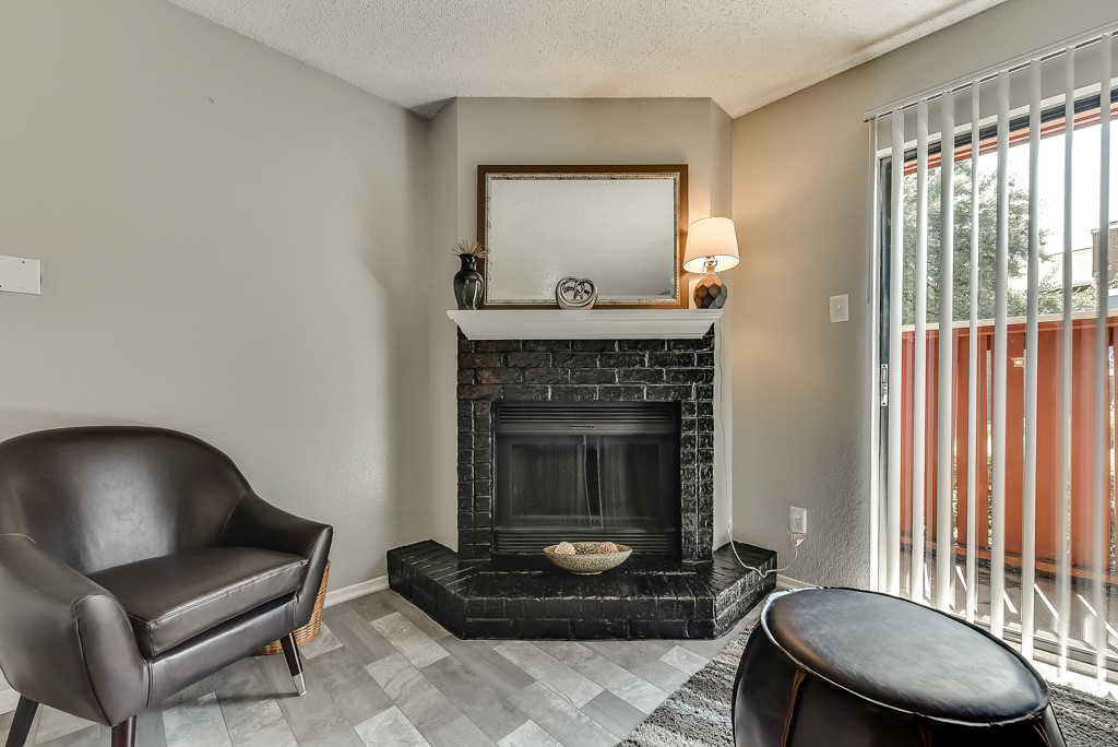 Fireplace at Luna Apartments in Dallas, TX