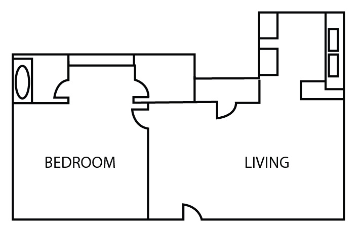 Bricktown Apartments - Floorplan - One Bedroom