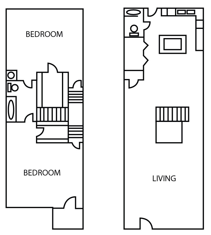 Bricktown Apartments - Floorplan - Two Bedroom Townhome