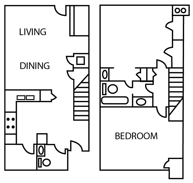 Bridgeport Apartments - Floorplan - Two Bedroom Townhouse