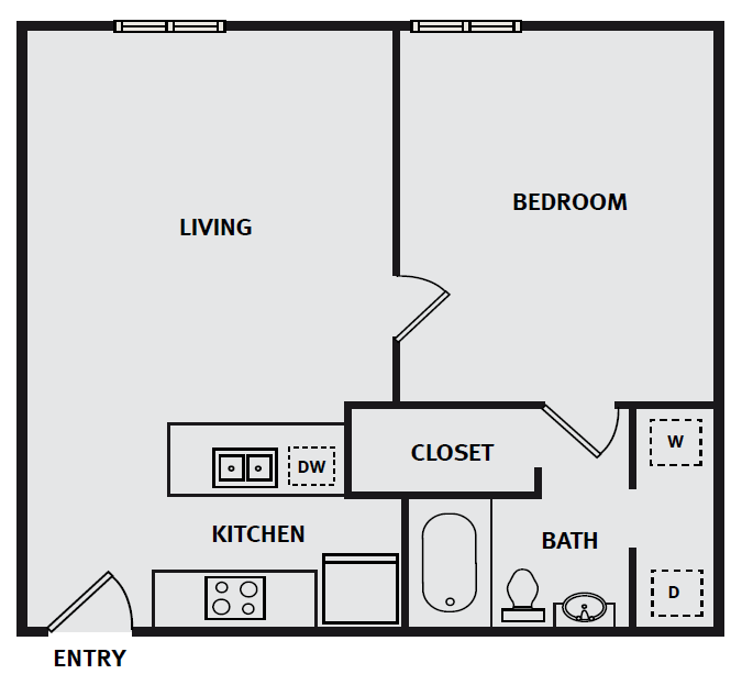 The Briq on 4th Street - Floorplan - 1BR 1BA 604