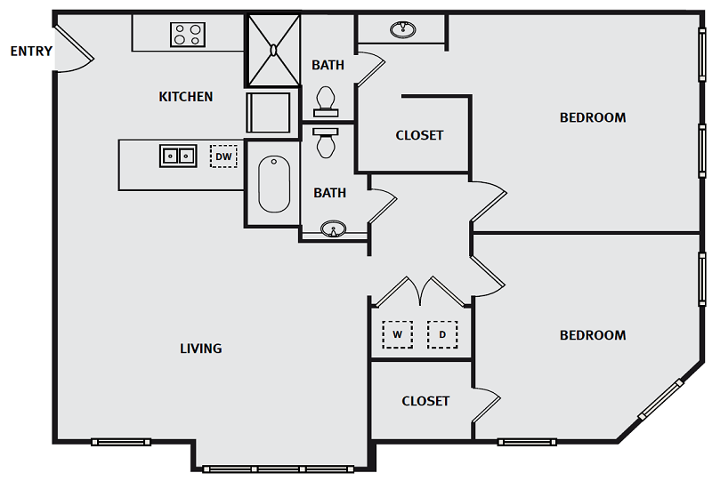 The Briq on 4th Street - Floorplan - 2BA 2BR 958