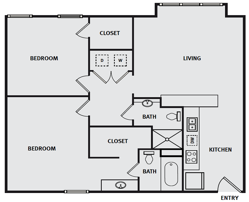The Briq on 4th Street - Floorplan - 2BR 2BA 878