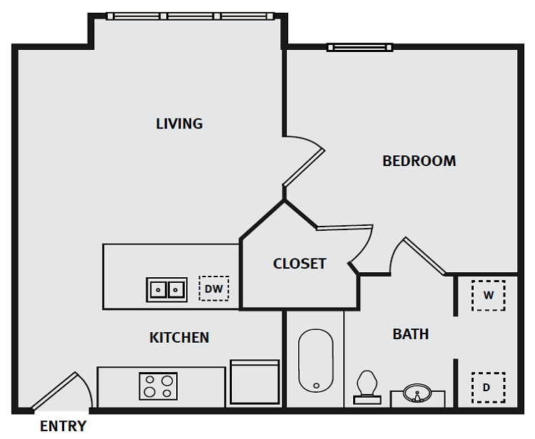 The Briq on 4th Street - Floorplan - 1BR 1BA 540