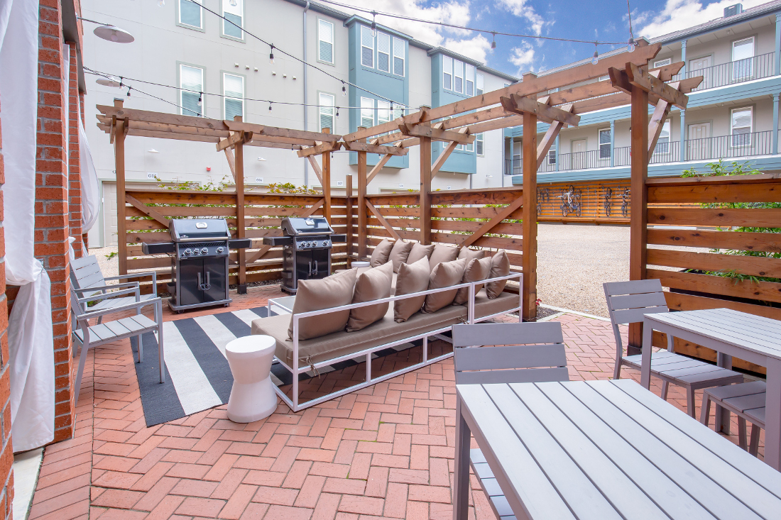 Modern Grilling and Picnic Area at The Briq on 4th Street in Bentonville, Arkansas