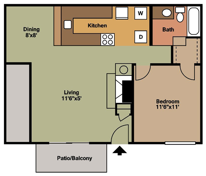 Brittany Square Apartments - Floorplan - 1 Bedroom - A