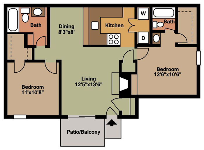 Floorplan - 2 Bedroom image