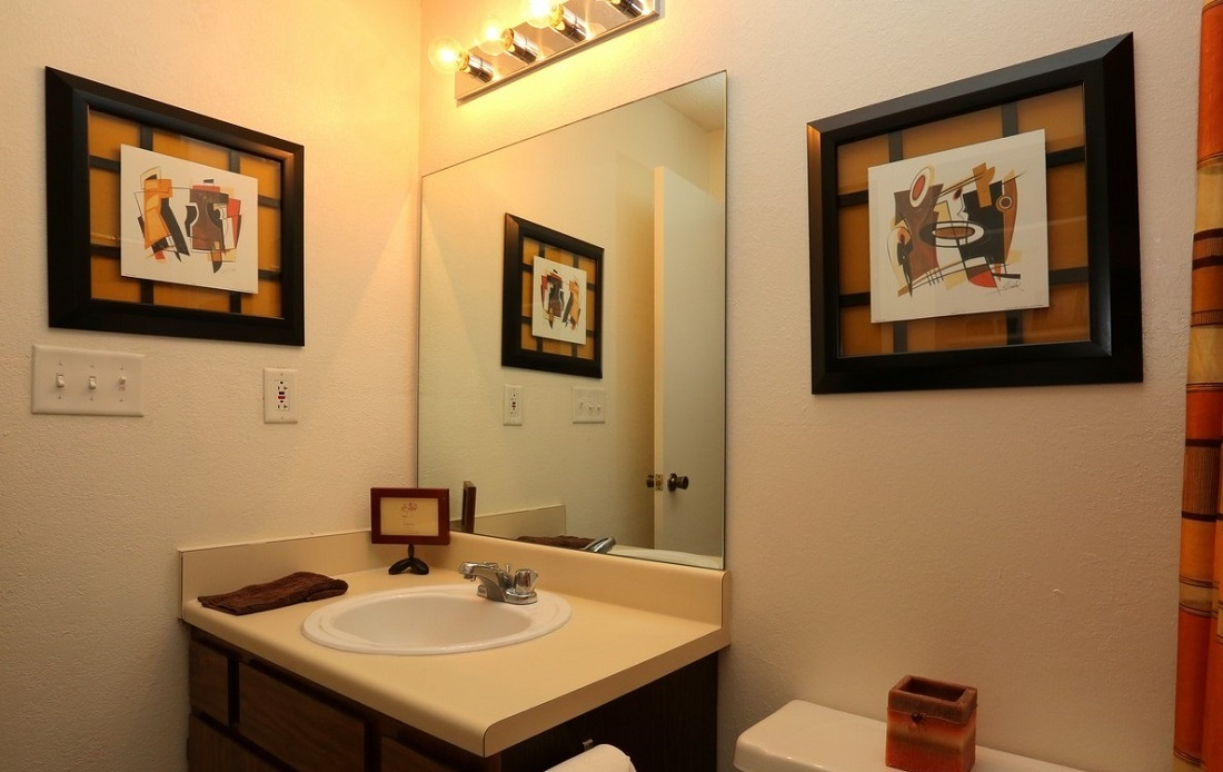 Bathroom Interior at the Brittany Square Apartments in Tulsa, OK