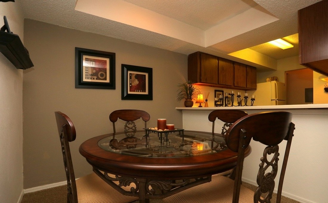 Dining and Kitchen Area at Brittany Square Apartments in Tulsa, OK